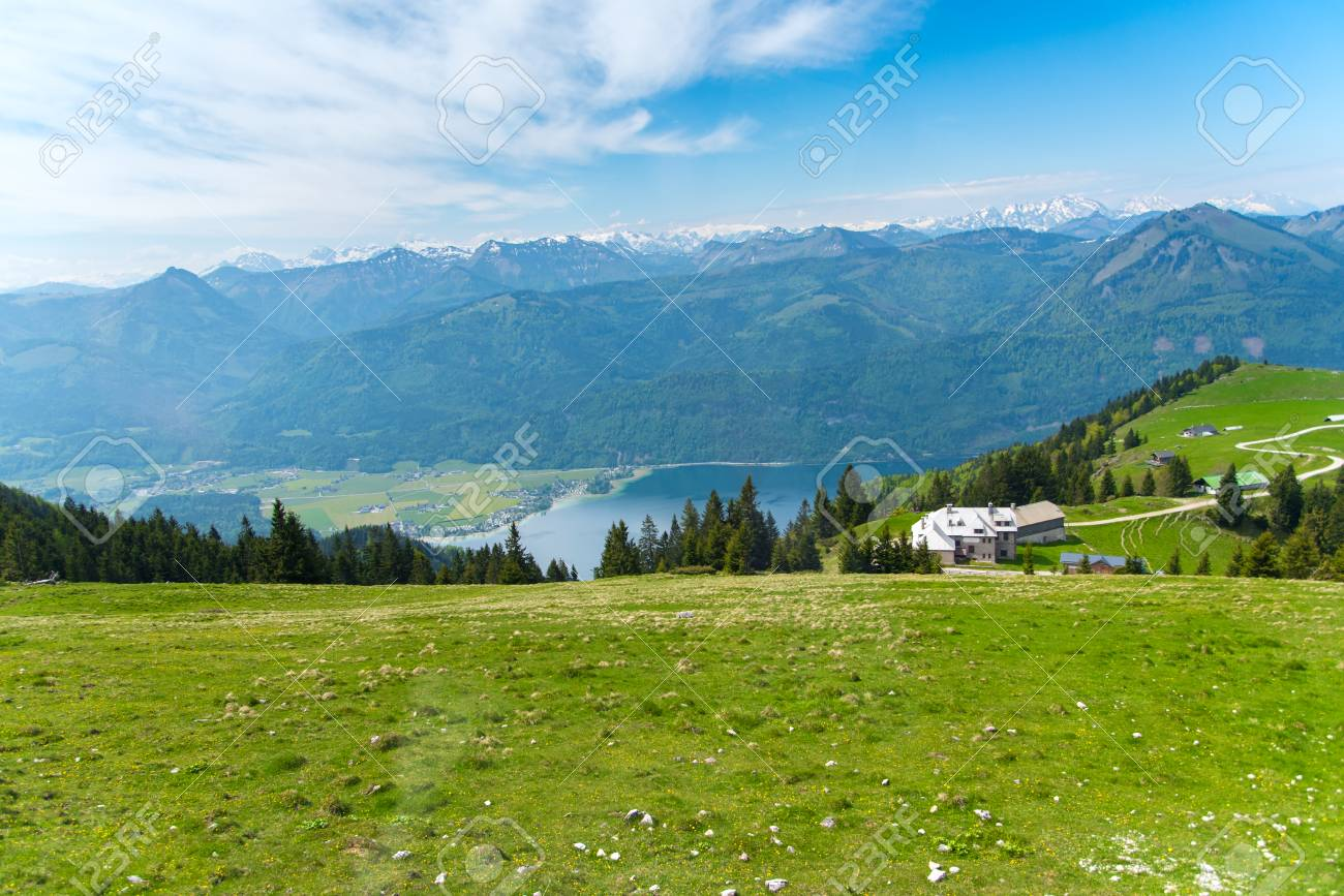 St. Wolfgang mountain top with lake and city view, Austria - 115023925