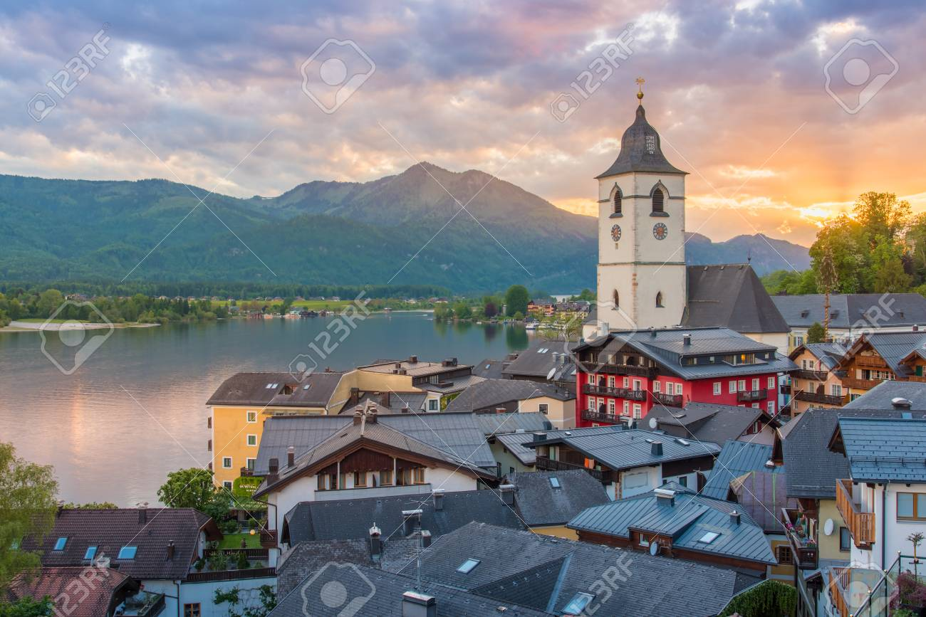 View from the hotel at St. Wolfgang Lake in beautiful Sunset summer time, Austria - 115023961