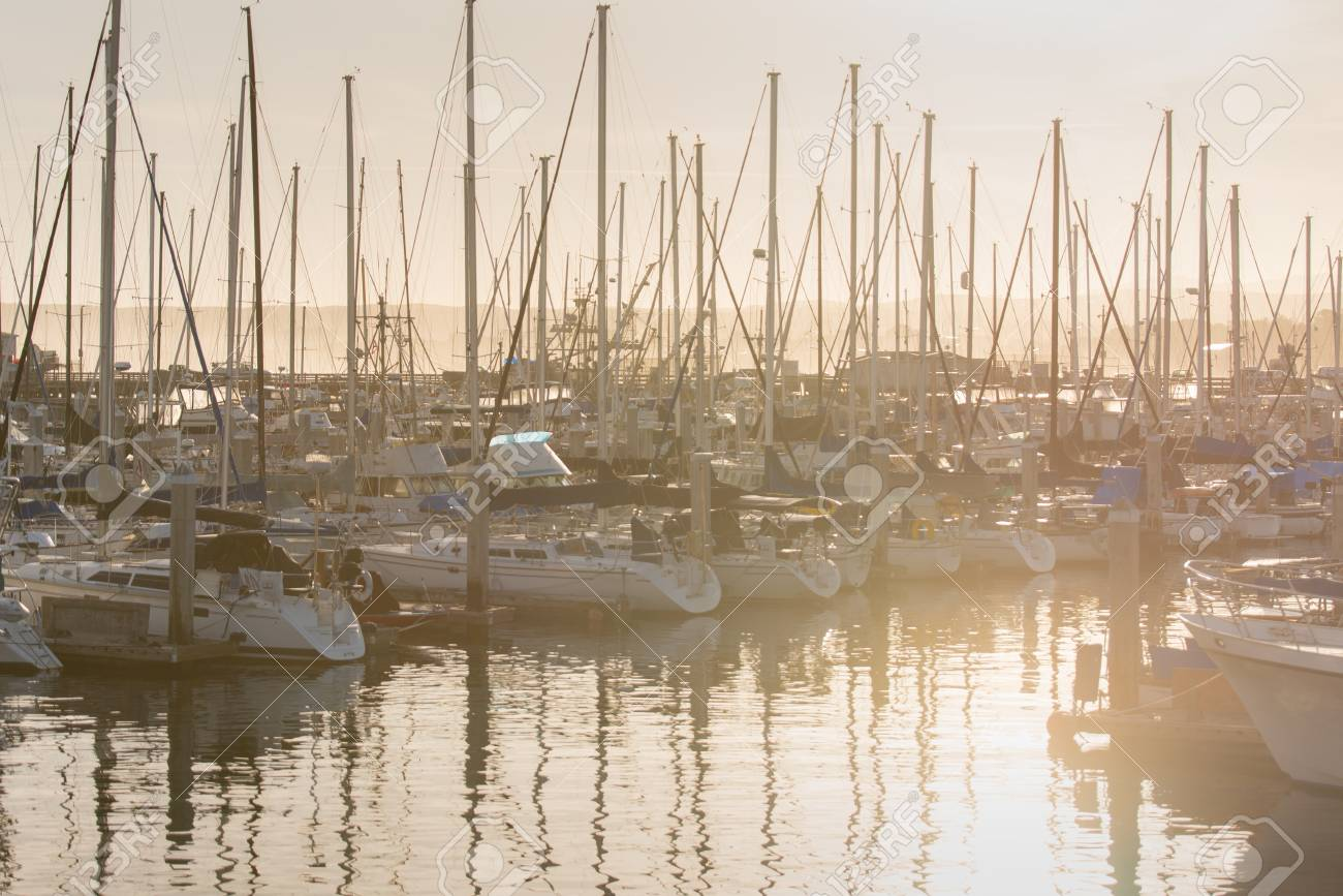 Sunrise and Yatchs in Pier ,removed all trademarks , California - 115023880