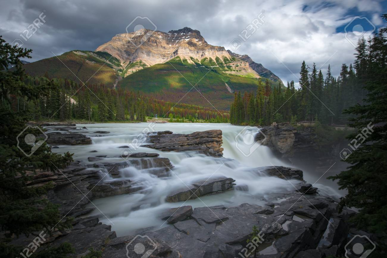 Athabasca fall with cloudy day in Spring, Alberta, Canada. - 115343697