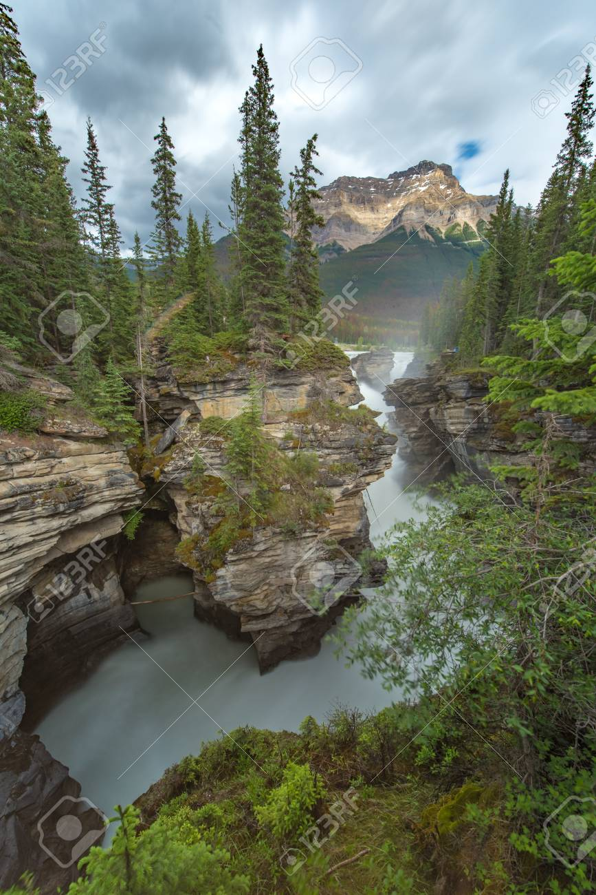 Athabasca fall with cloudy day in Spring, Alberta, Canada. - 115503215