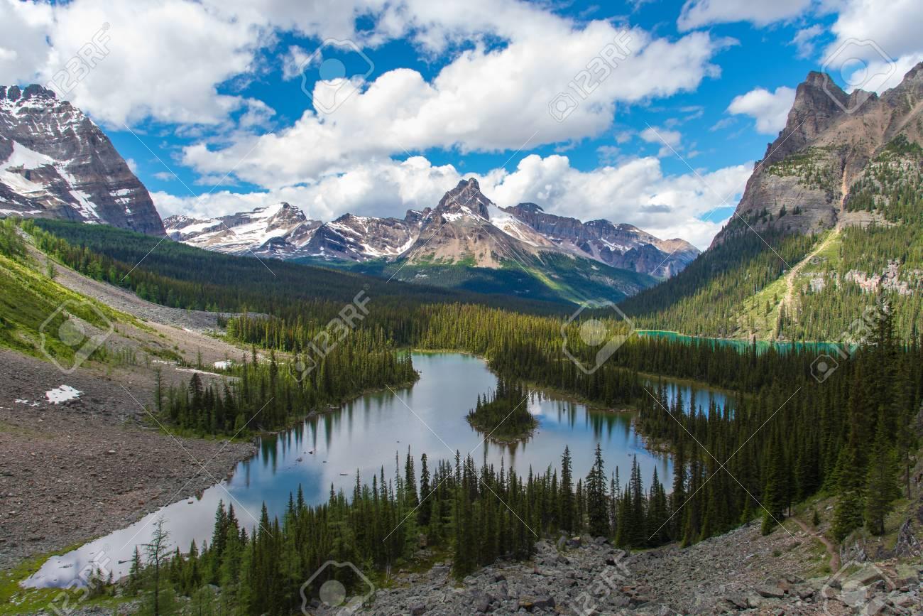 Opabin lake beautiful hiking trail in cloudy day in Spring, Yoho, Canada. - 115503220