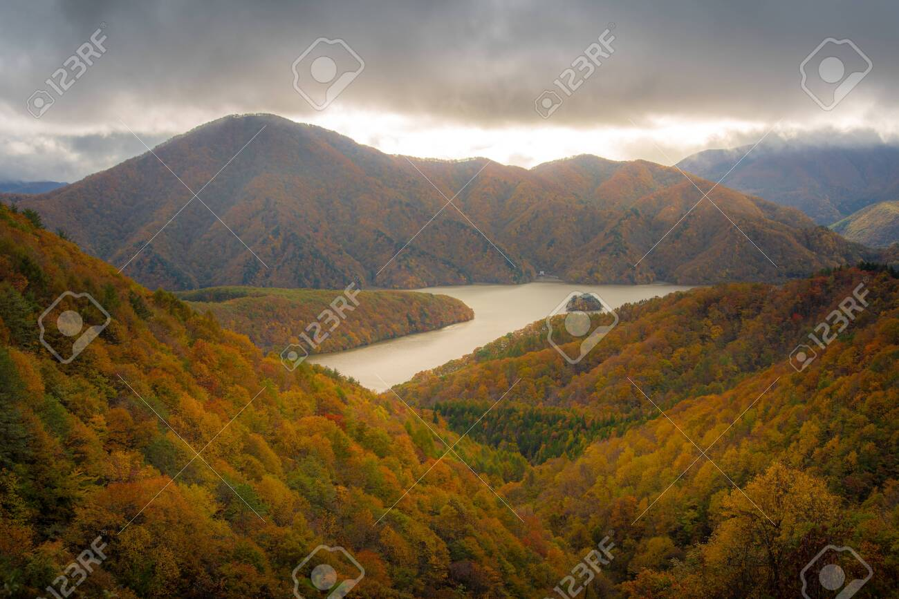 Hiking trail in Autumn , Fukushima Prefecture with waterfall , Japan - 137071924