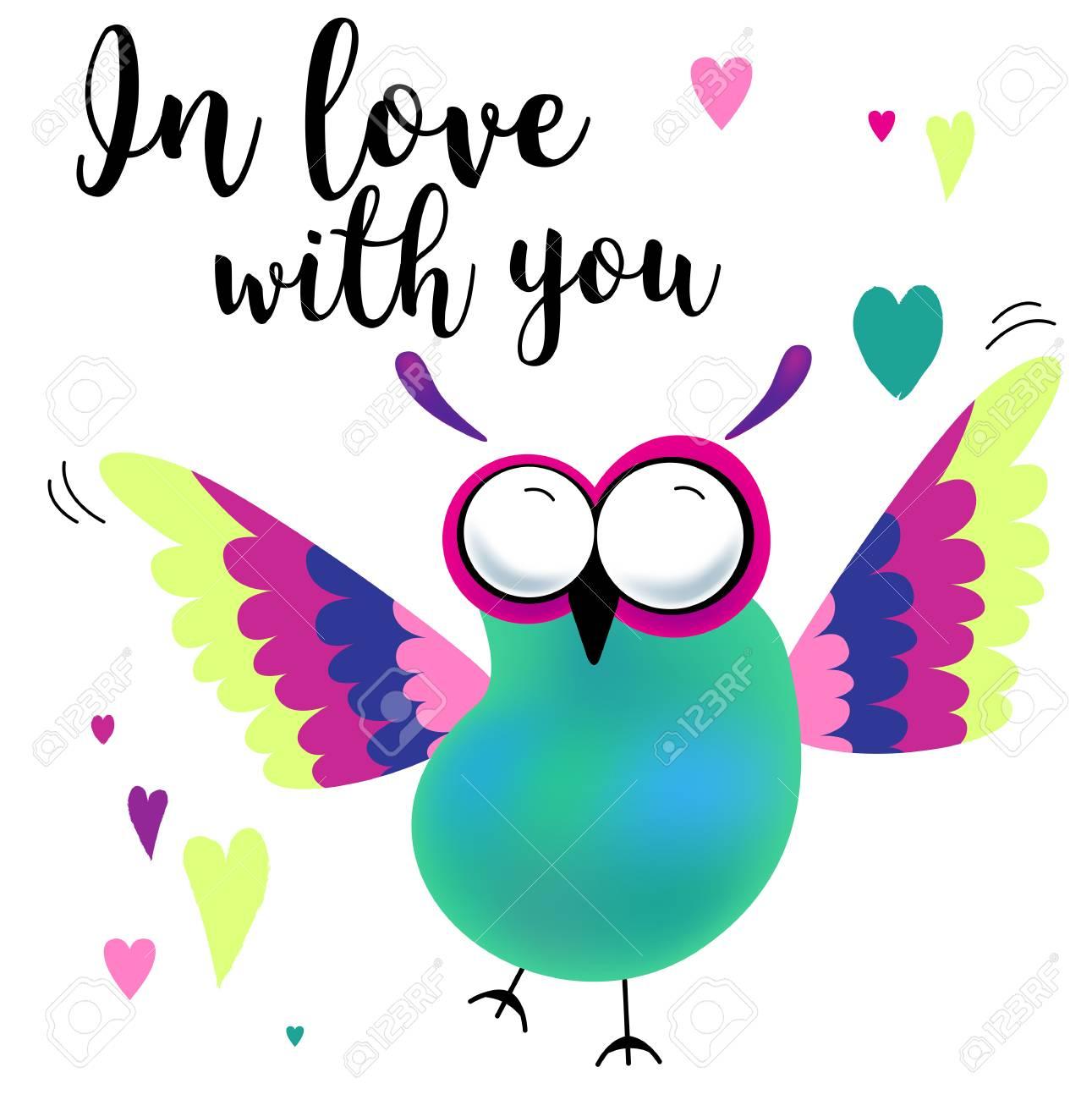 Tarjeta Del Día De San Valentín Con Búhos De Dibujos Animados