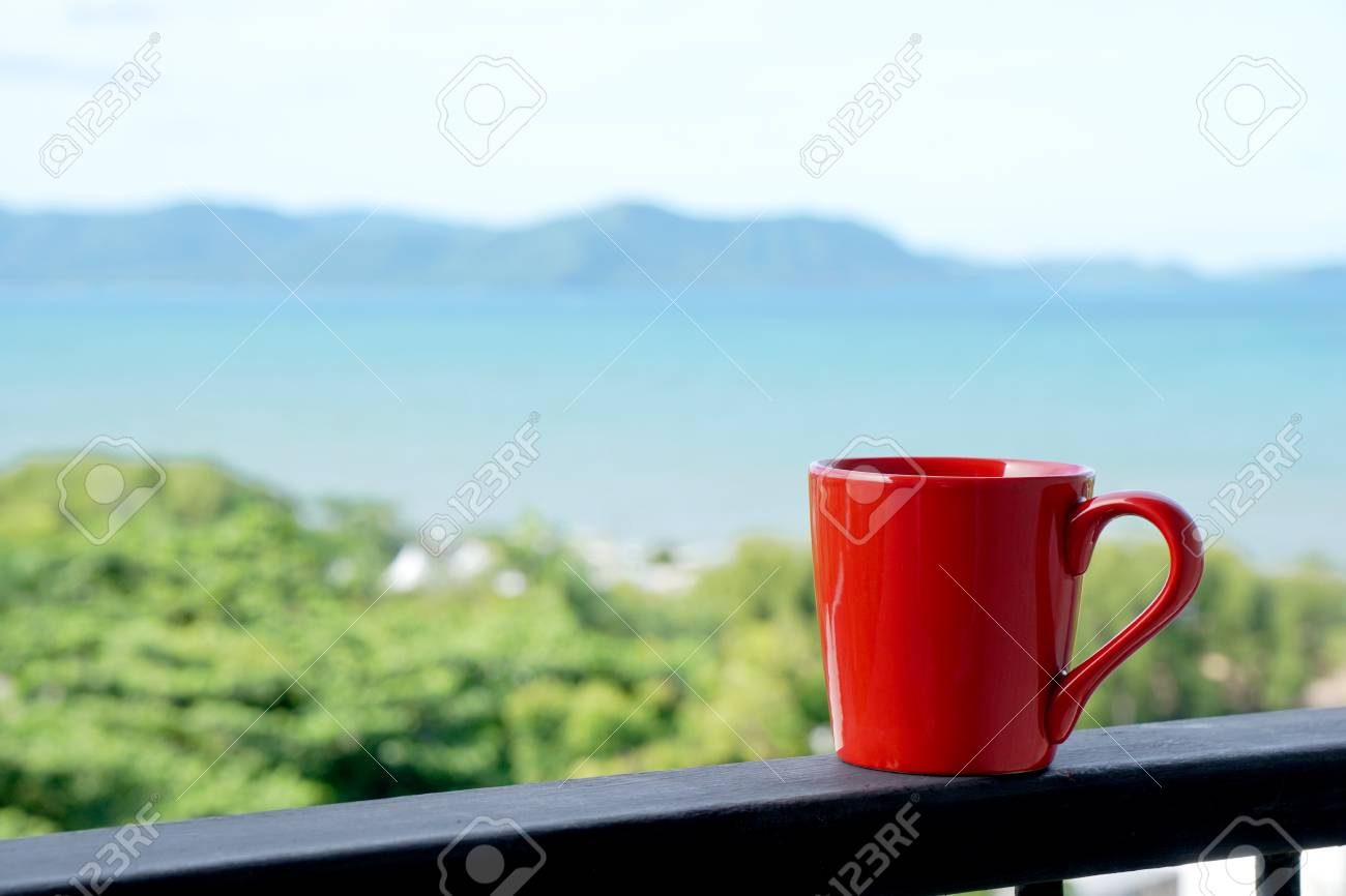The Morning Red View Sea Background In Coffee Mug Relax With qpGzUMVS