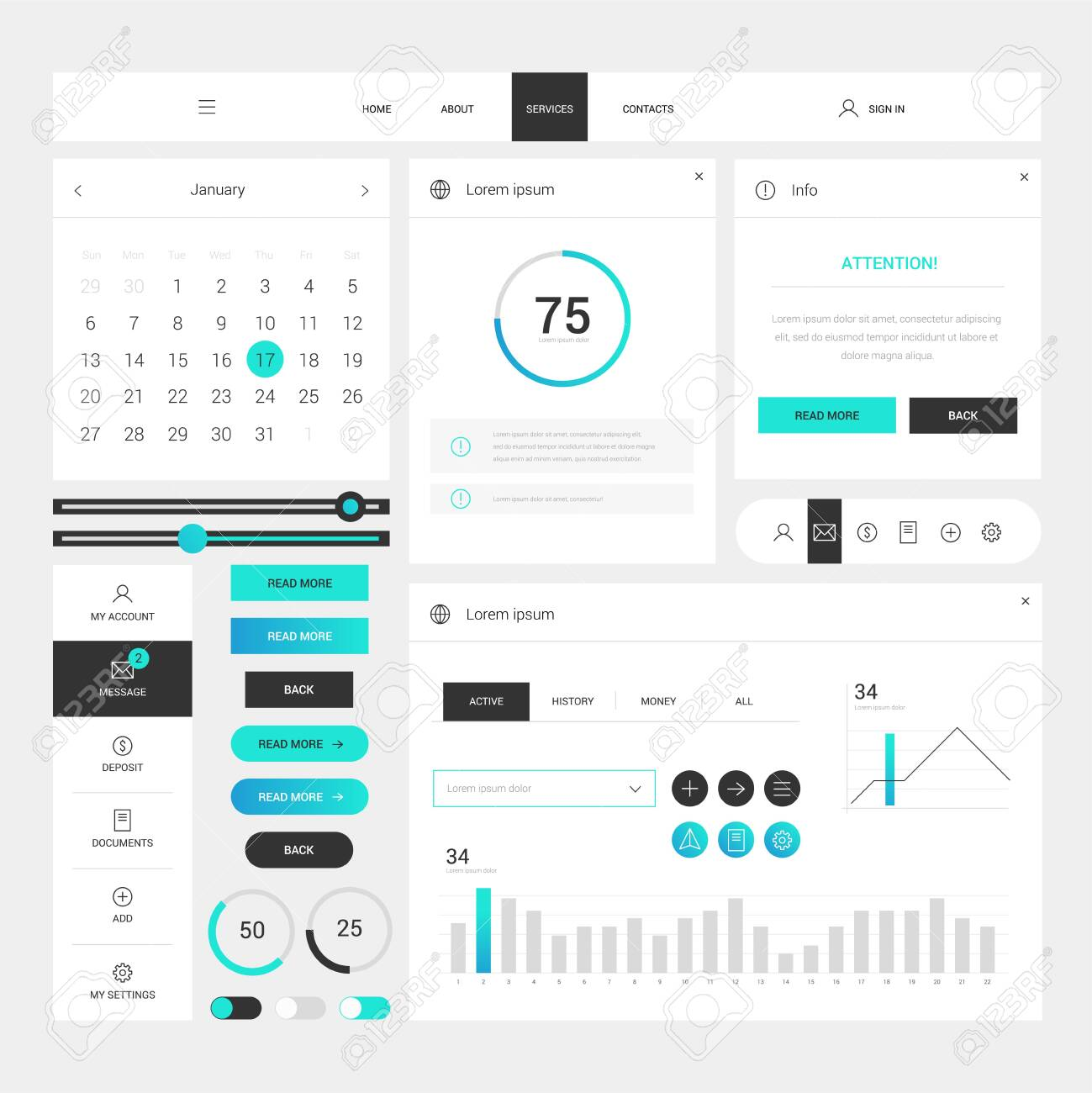 Modern web design elements frame template on white background. Web elements with navigation, buttons, icons for use on the site. Daily ui. Web interface template - 143175363
