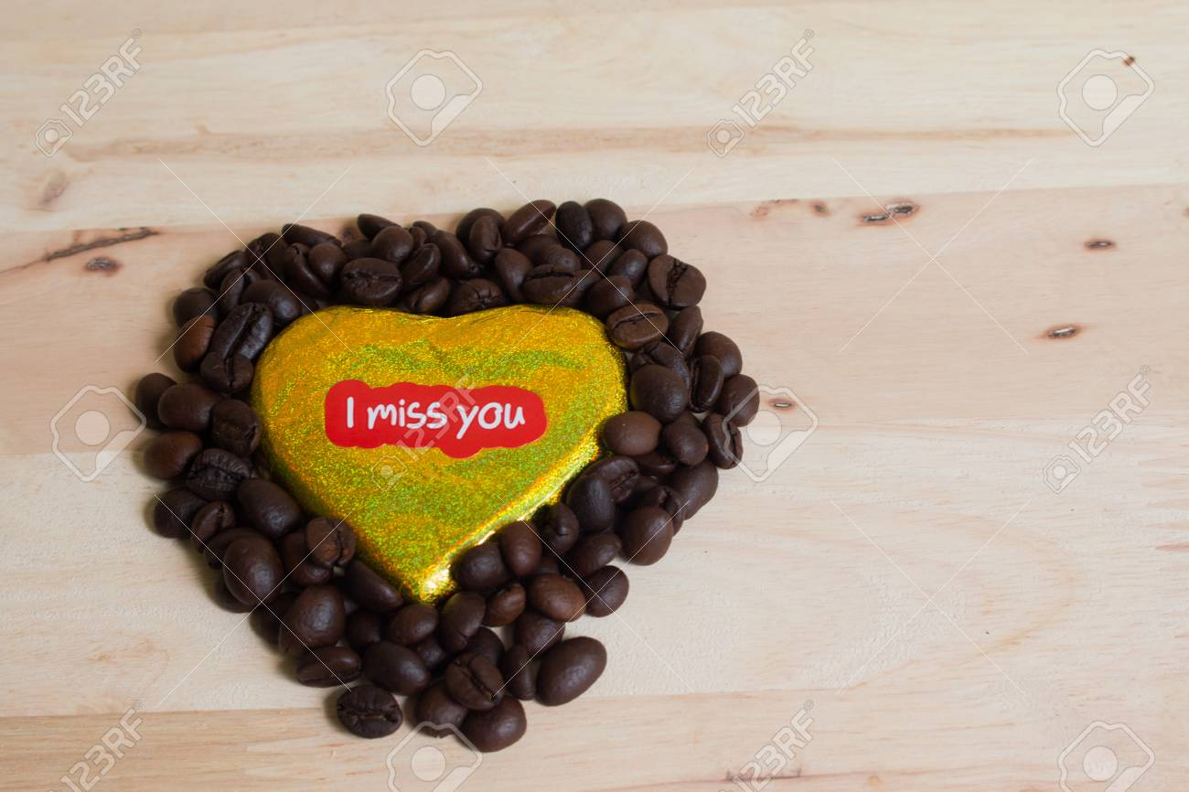 Coffee Beans Surrounded Chocolate Wrapper On Valentine S Day