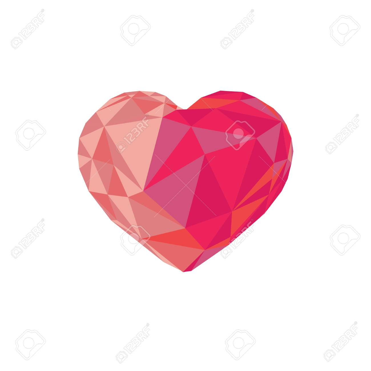 Low Poly Red Crystal Bright Heart Good For Valentine S Day Gifts Packs