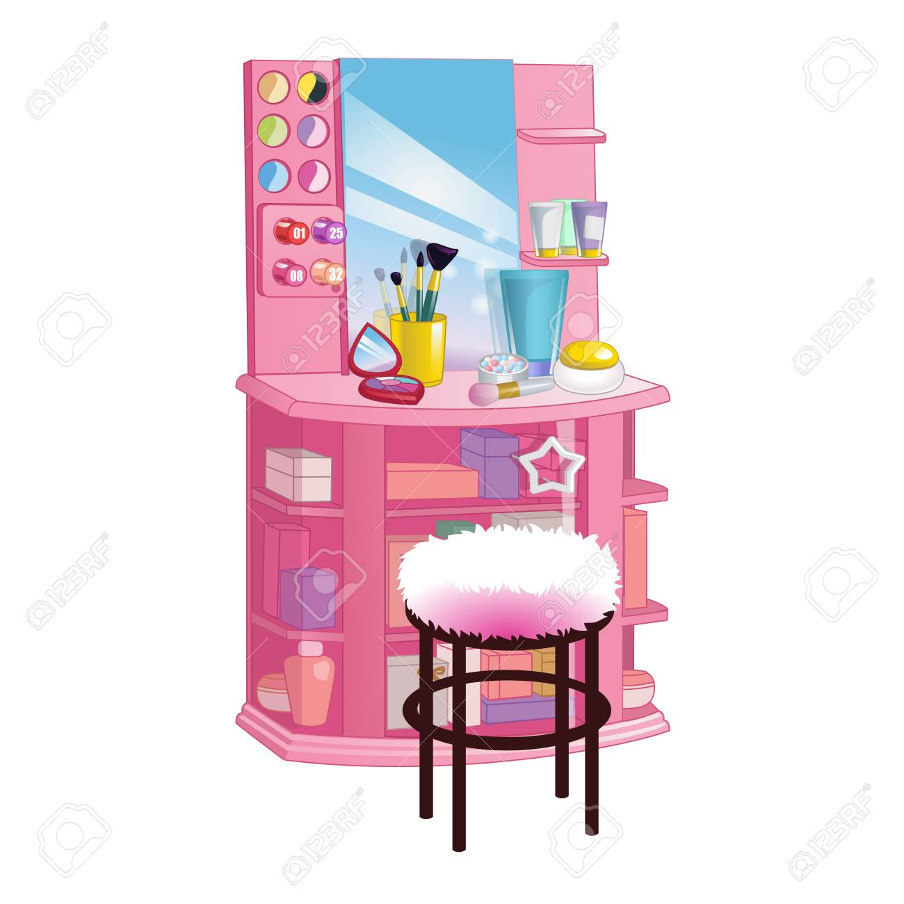 Illustration   Woman Dressing Table With Big Mirror, Chair And Cosmetic.  Flat Style Vector Illustration.