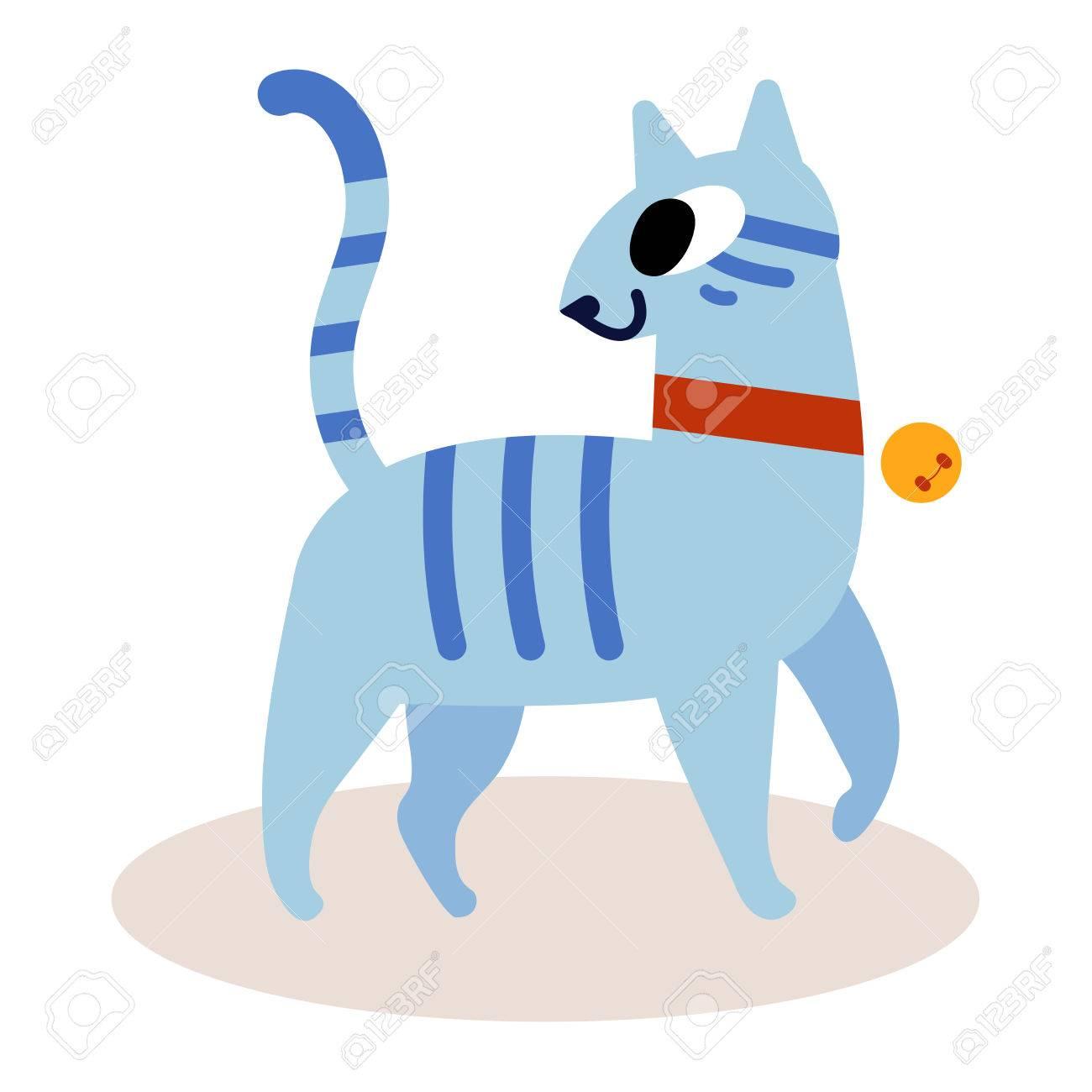 Chat De Dessin Animé Bleu Rayé Mignon Isolé Sur Fond Blanc Dans Un Collier Rouge Avec Une Cloche Vecteur De Style Plat Moderne Simple