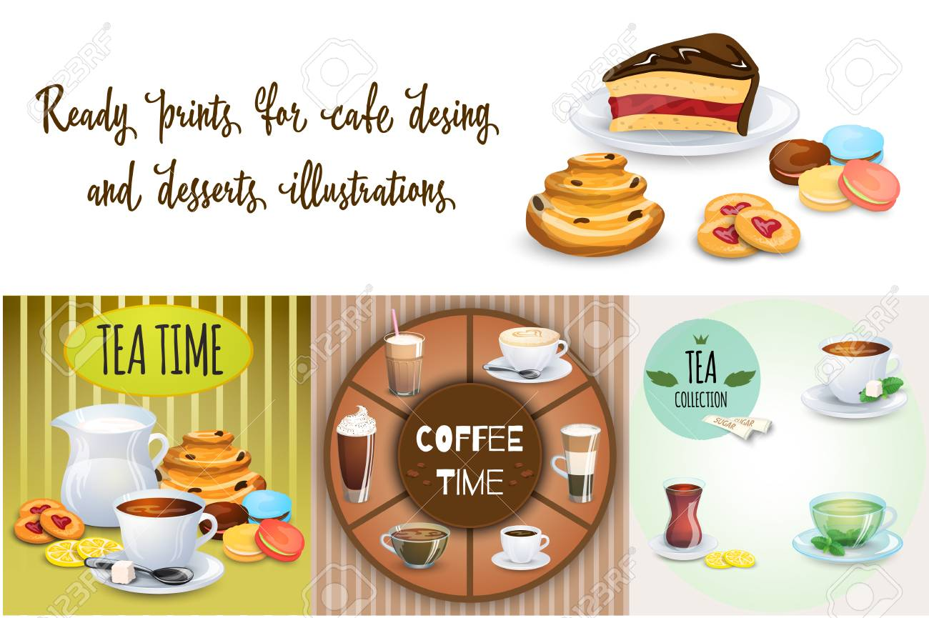Satz Kaffeegetränke, Bonbons Und Bäckereiprodukte. Einige ...