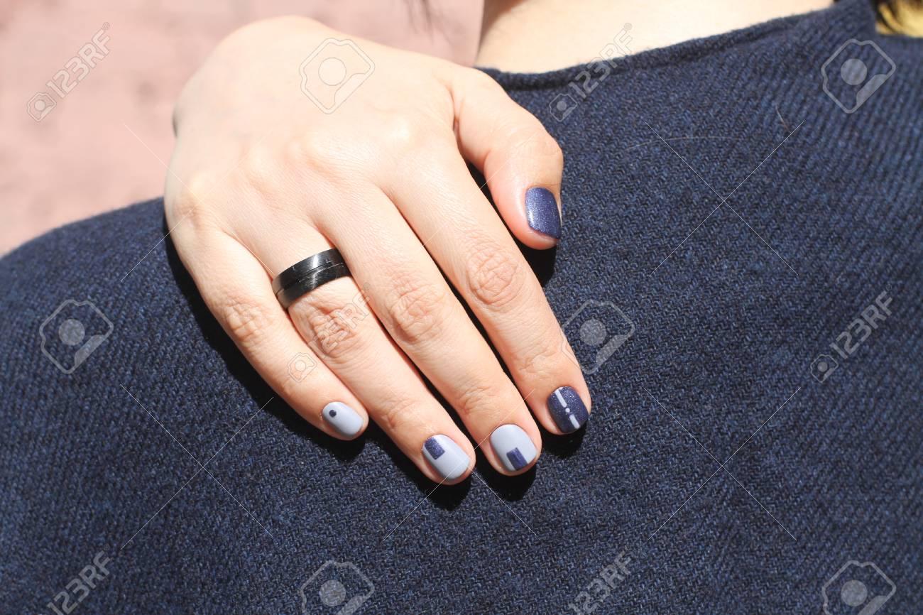 Beautiful Female Hand With Extraordinary Manicure. Creative Nail ...