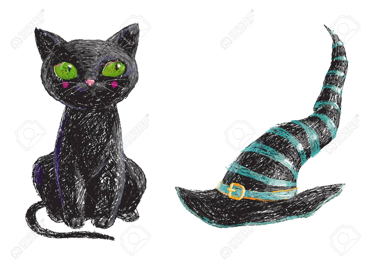8deb688e Hand drawn cute black witch cat and old hat isolated on white background.  Pencil drawing