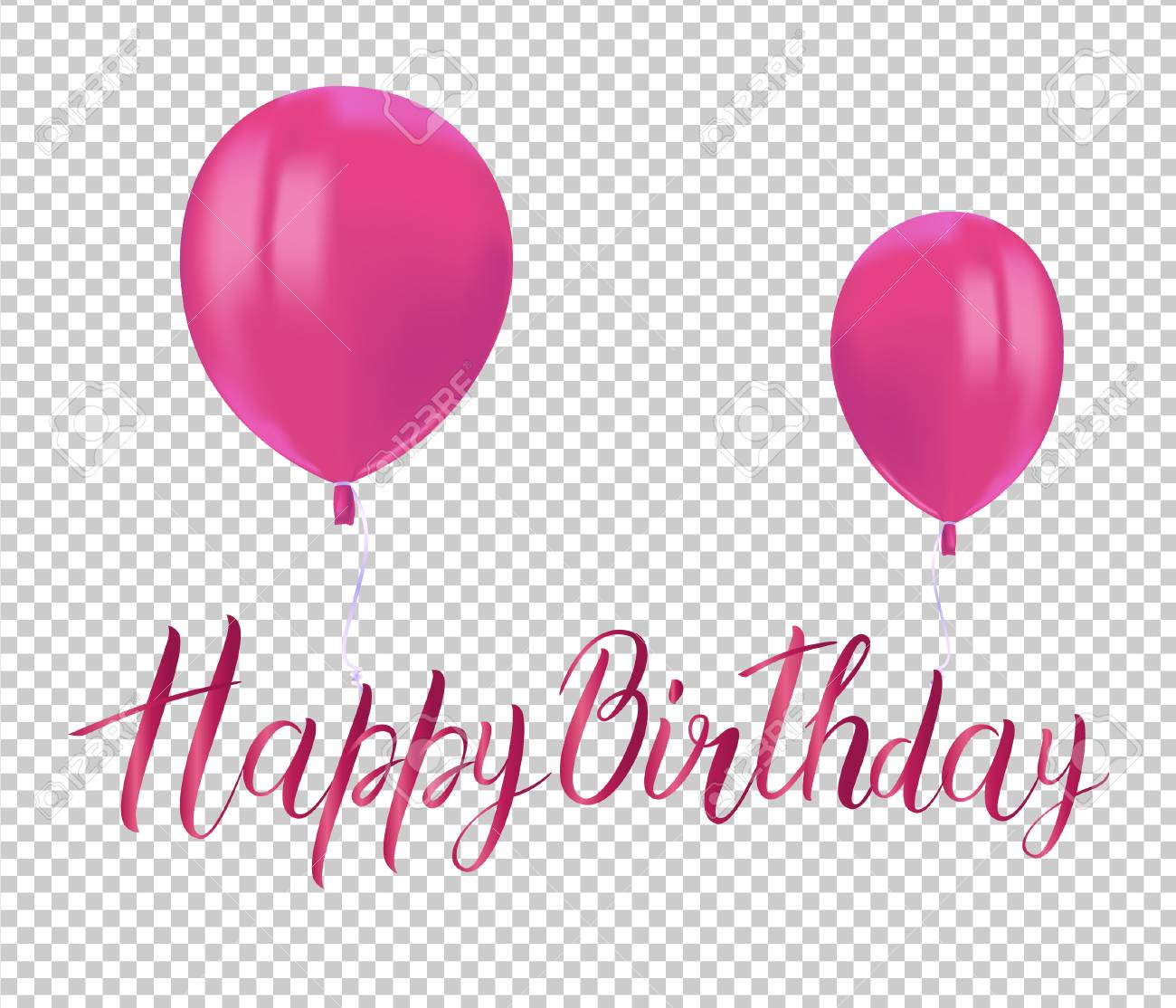 Realistic Pink Balloons With Reflects And Inscription HAPPY BIRTHDAY On Transparent Background Festive Decor Element