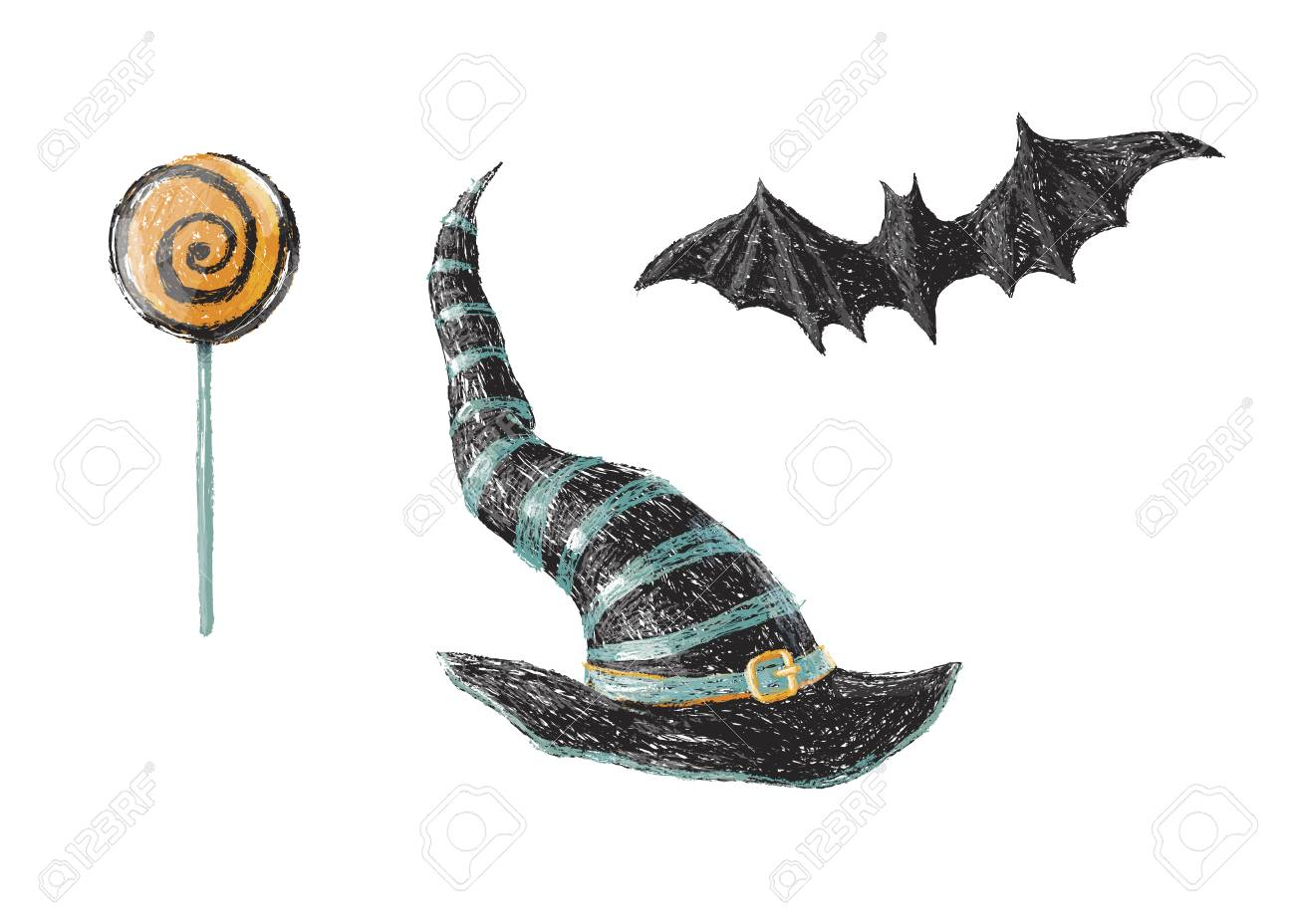 Hand drawn old witch hat bat and halloween sweet lollipop isolated