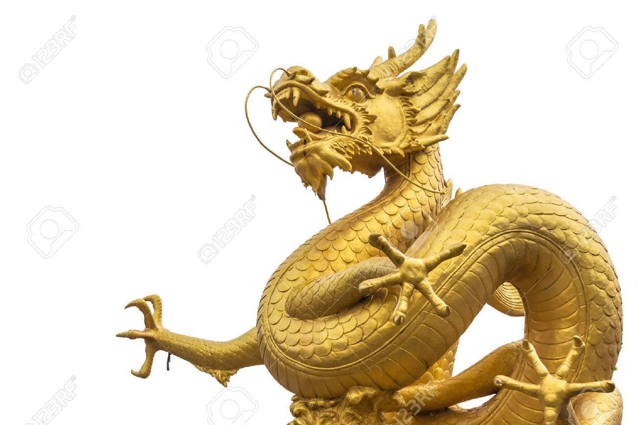 Gold dragon scrulpture on white background