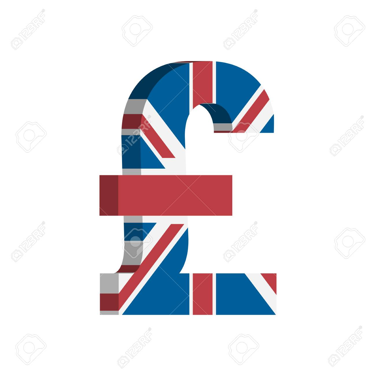 British Pound Gbp Currency Symbol With Flag Vector Ilustraciones