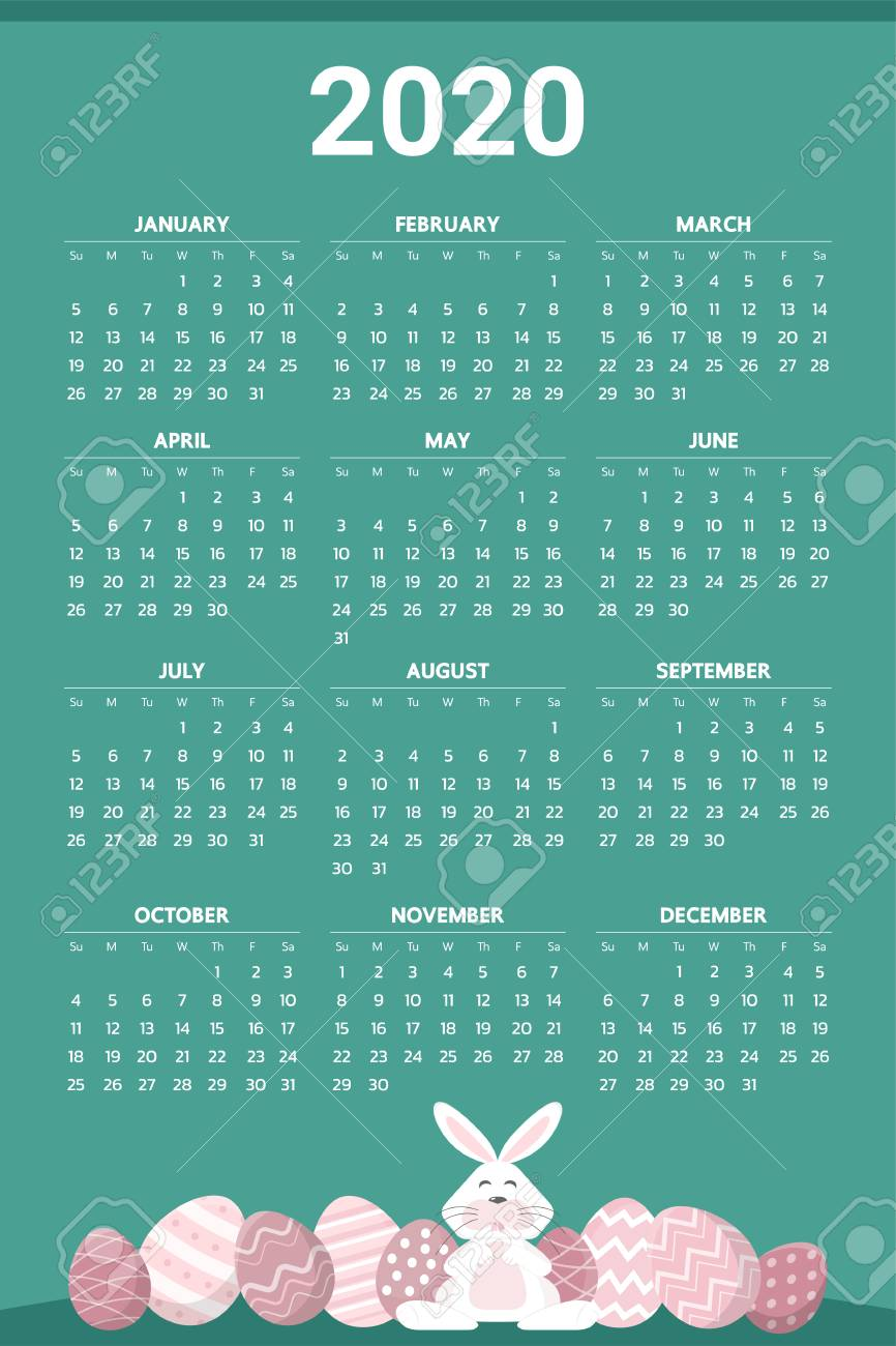 Easter 2020 Calendar.2020 Calendar With Easter Egg Theme Vector