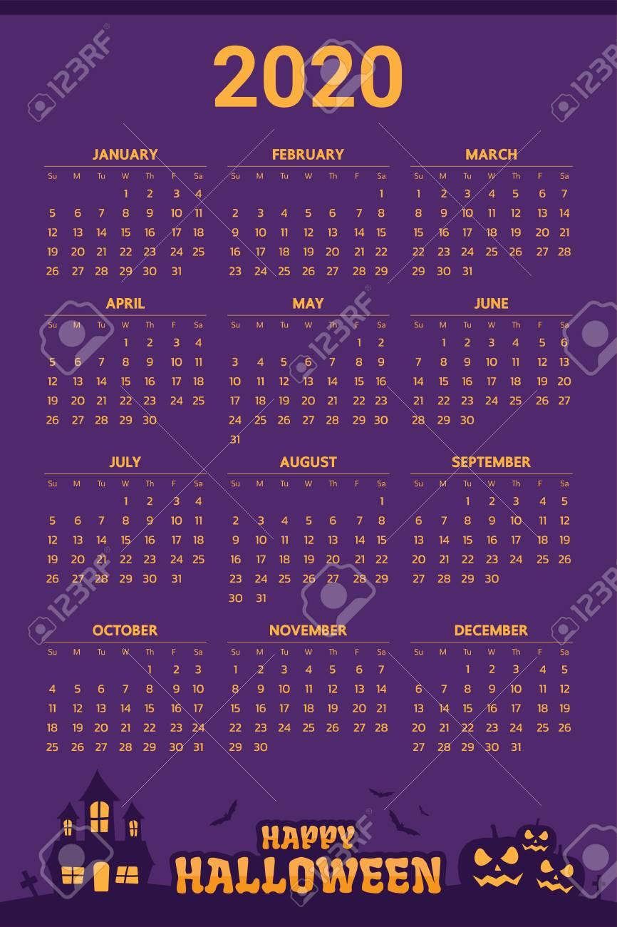 Halloween 2020 Calendar 2020 Calendar With Halloween Theme   Vector Royalty Free Cliparts