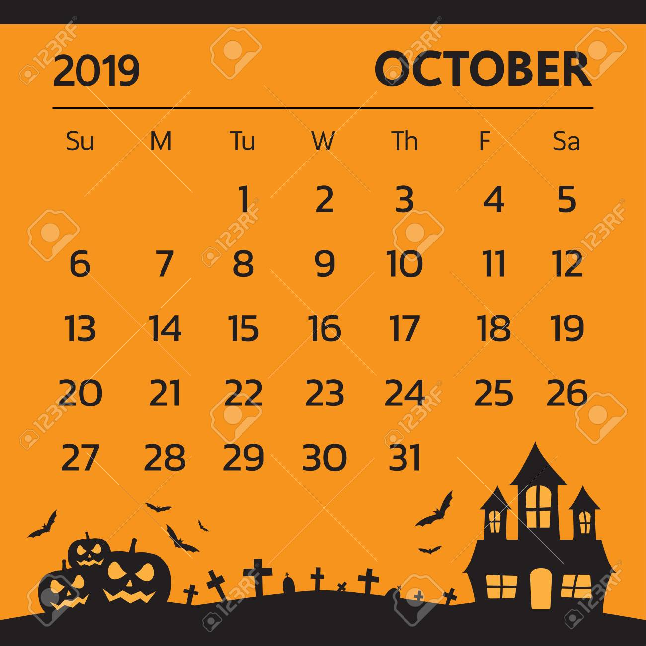 Halloween 2019 Calendar Calendar For October 2019 With Halloween Theme   Vector Royalty