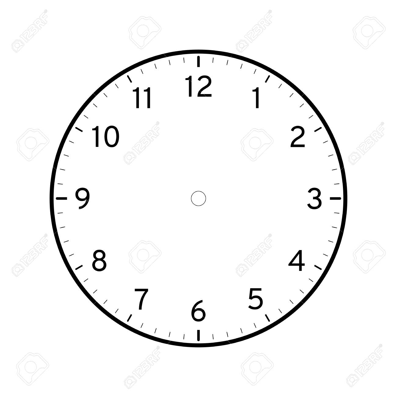Empty printable clock face template isolated on white background - 126017610