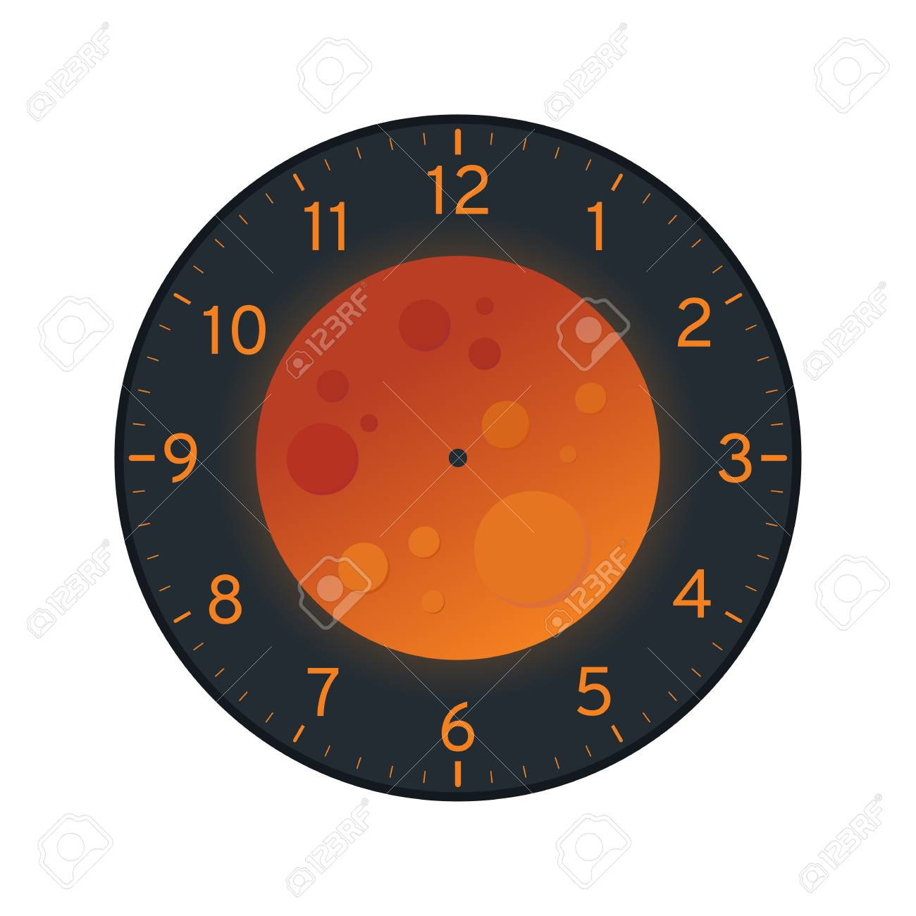 photo relating to Moon Printable called Blood Moon Printable Clock Experience Template Isolated upon White History