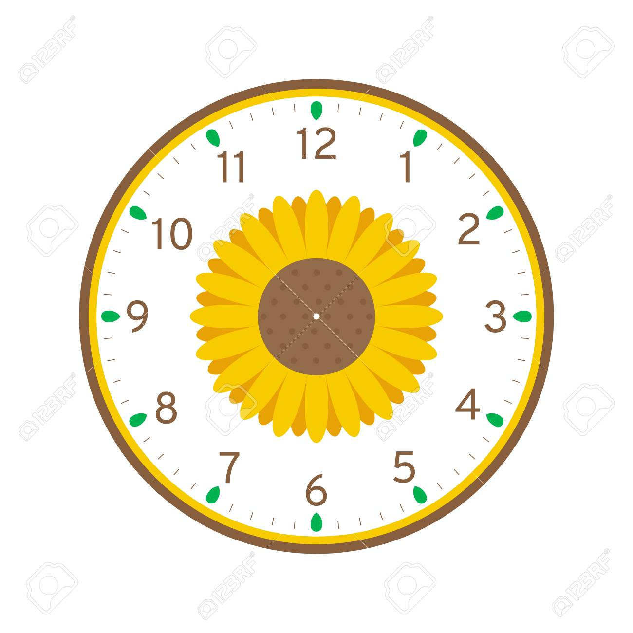photograph relating to Sunflower Printable identify Sunflower Printable Clock Deal with Template Isolated upon White Record