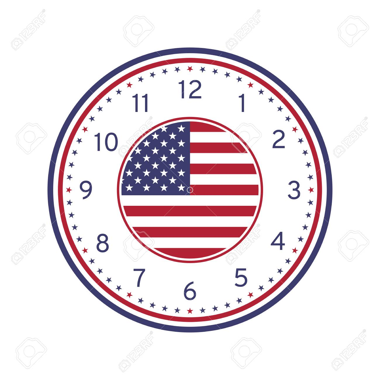 graphic about Printable Clock Face Template referred to as United states Flag Printable Clock Experience Template Isolated upon White History