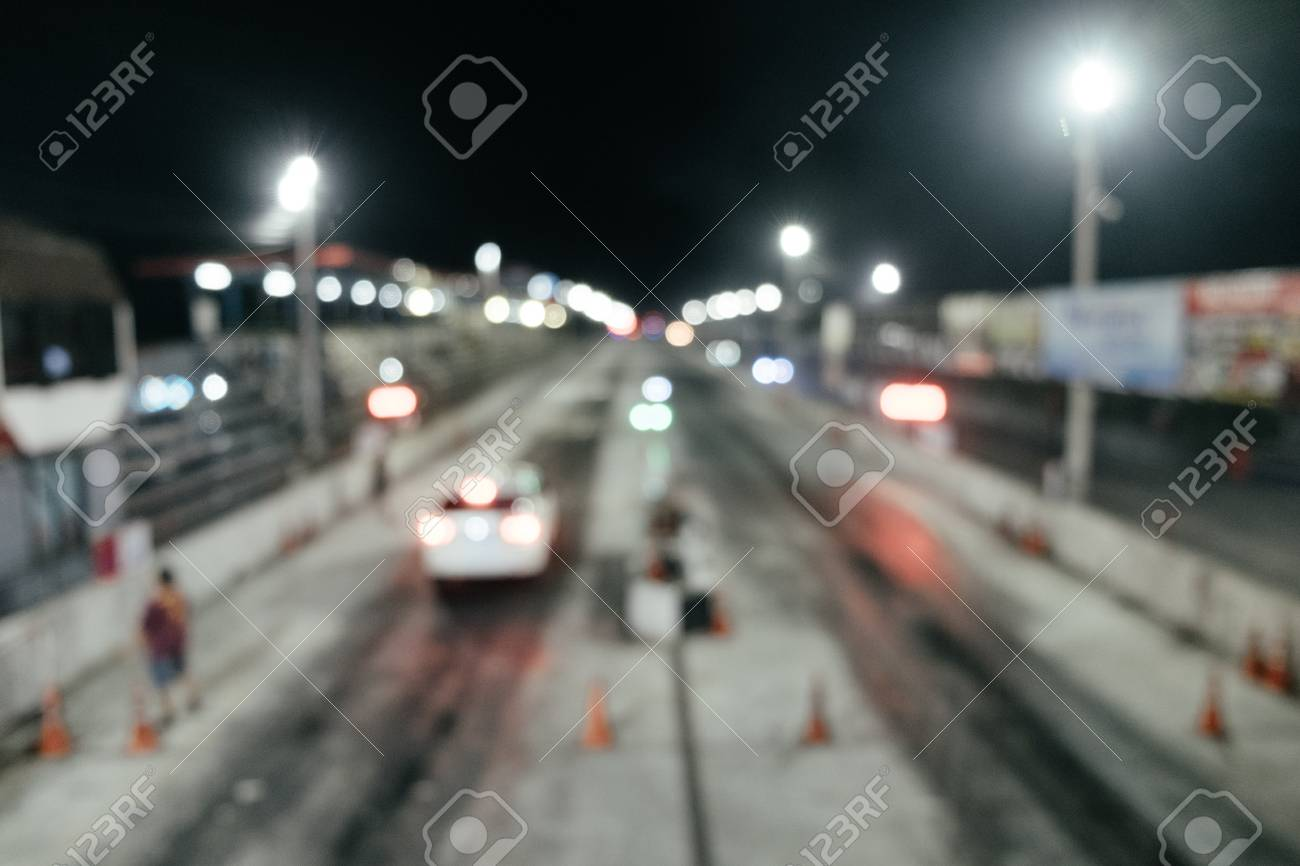 Abstract Bokeh Background Sport Car Race Match In The Night