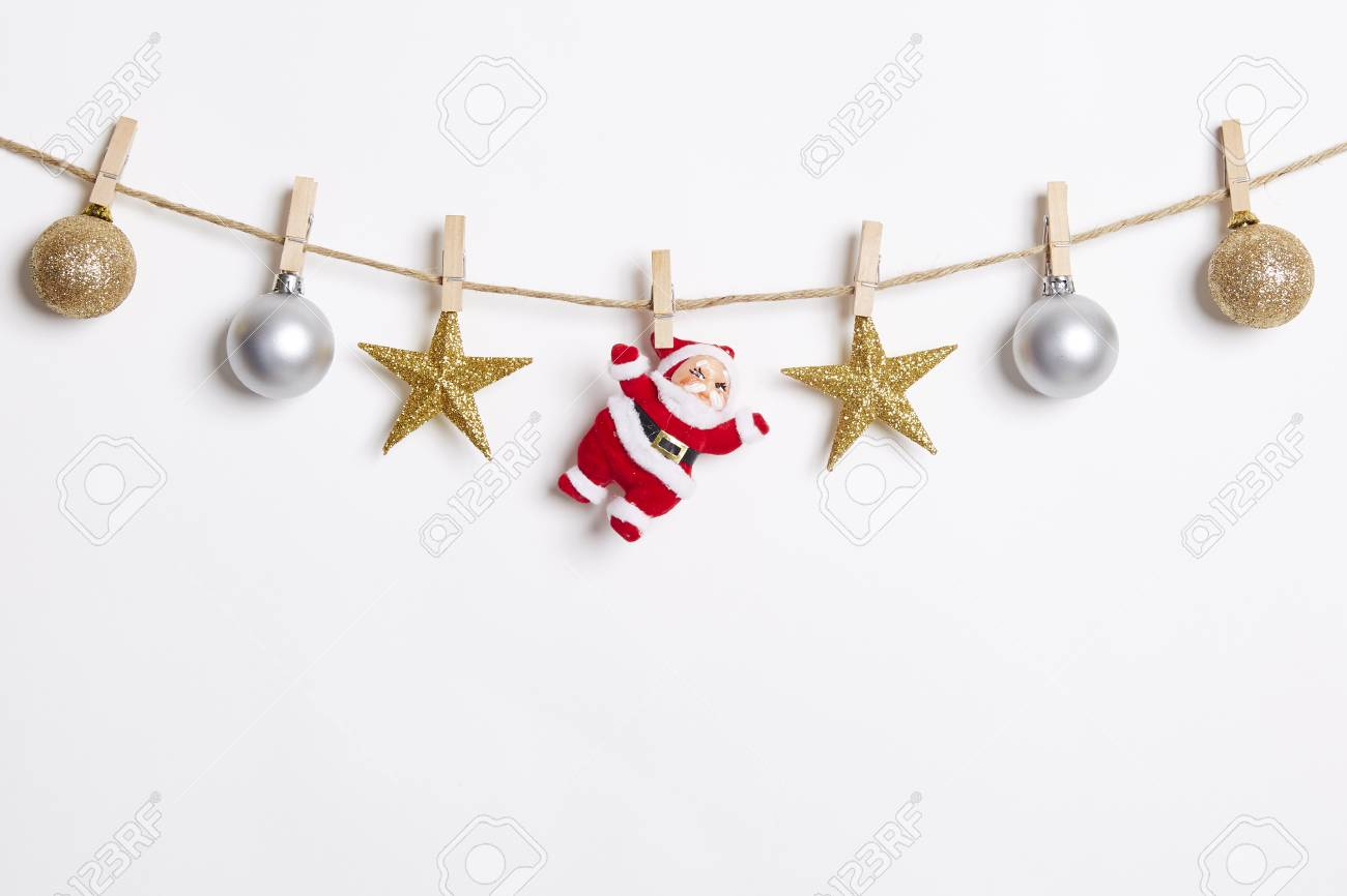 86501e642783 Christmas Decoration Hanging with Robe on White Background.Flat Lay,Top  View Stock Photo
