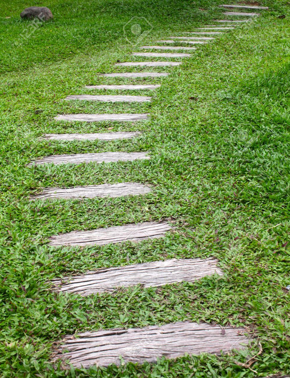 Good Stock Photo   Wood Walkway In Grass Garden