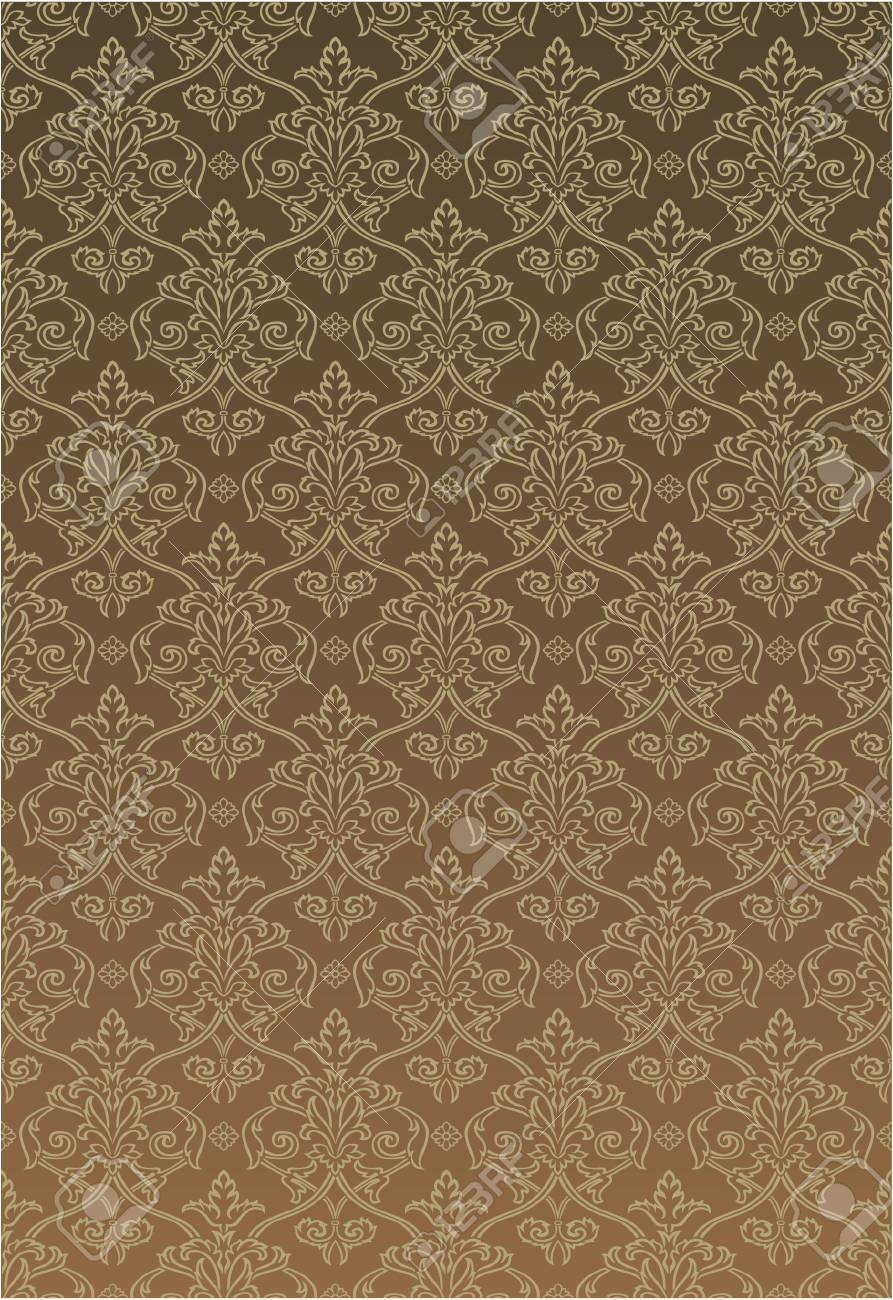 Brown tone Damask style wallpaper Pattern background Stock Vector - 7594247
