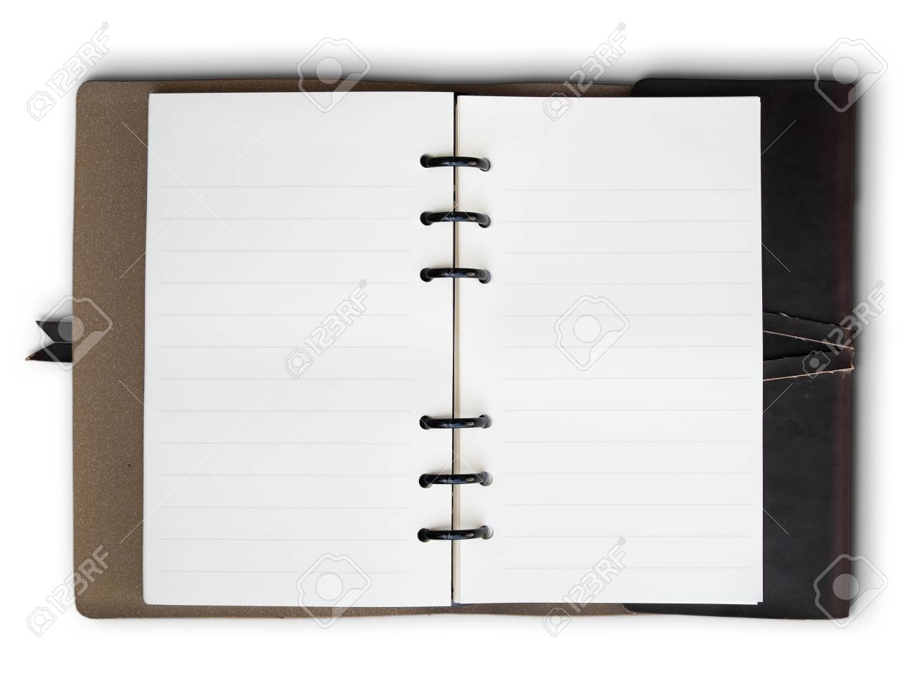 Open Old Brown Leather cover notebook on white background Stock Photo - 8487828