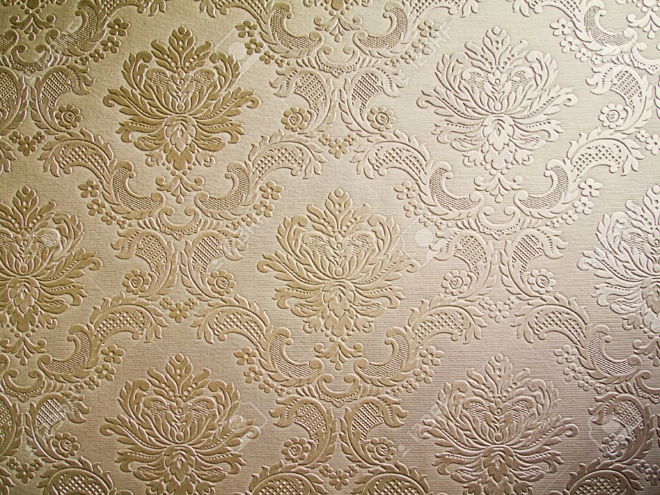 Light Brown Tone Damask Style Wallpaper Pattern Background Stock Photo