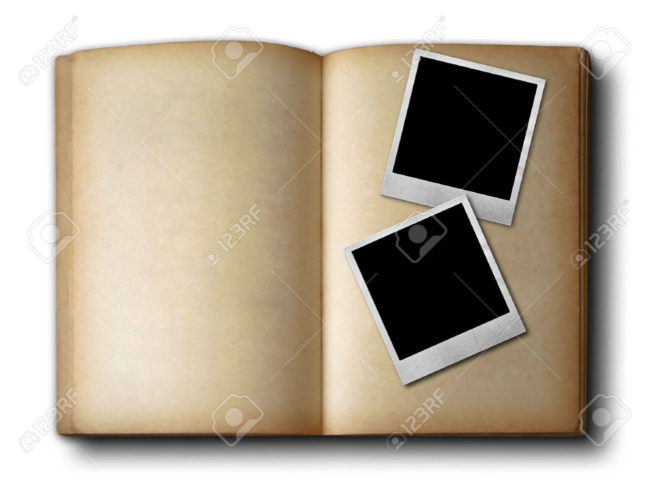 Two Photo Frames On Old Open Book On White Background Stock Photo