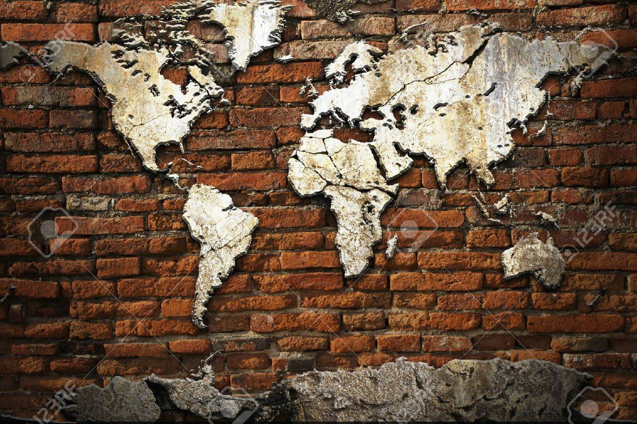 Grunge concrete world map on old brick wall on free world globe map, free world map poster, free world map wallpaper, free world atlas map,