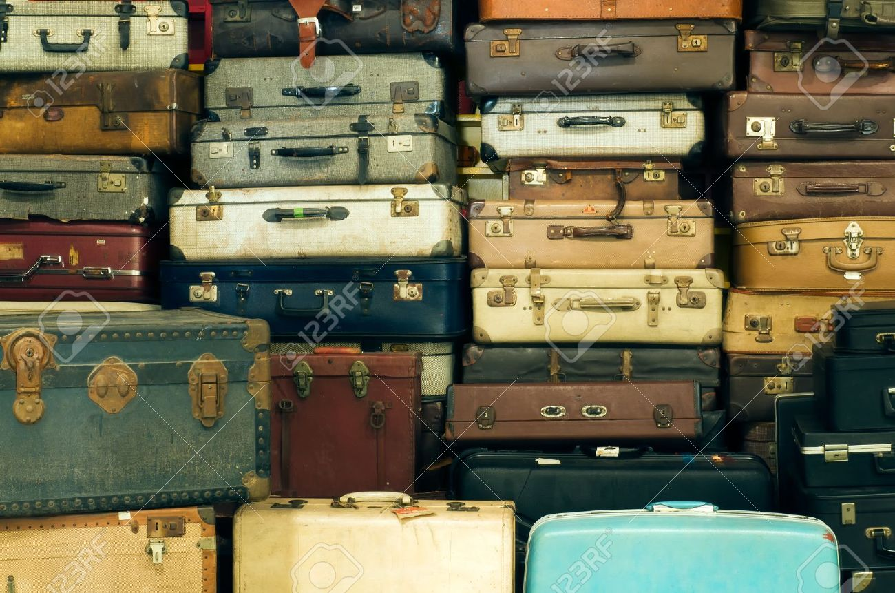 A Lot Of Old Vintage Suitcases Stock Photo, Picture And Royalty ...