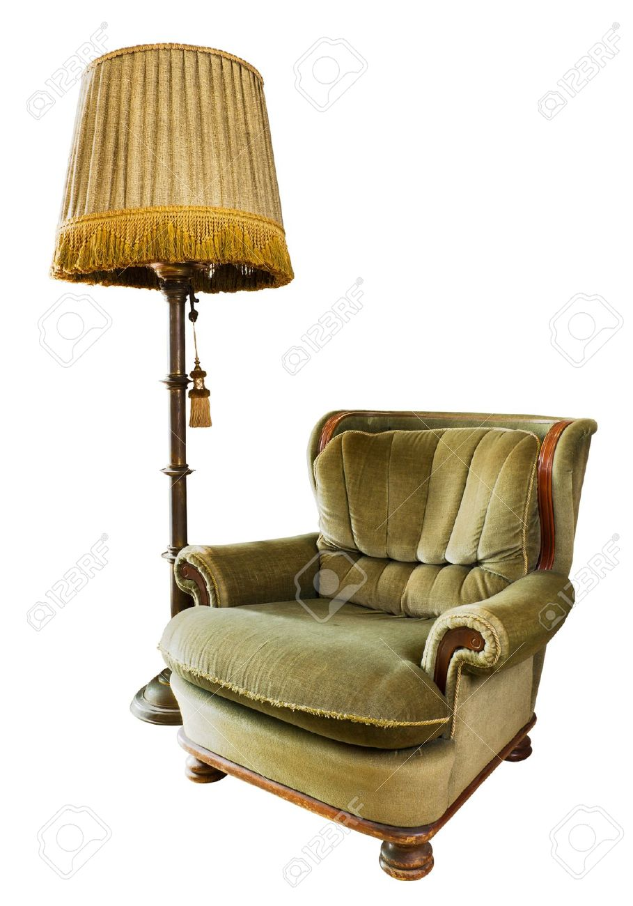 Luxus sessel  Old Luxus-Sessel Aus Holz Und Stoff Mit Stehlampe Aus Lizenzfreie ...