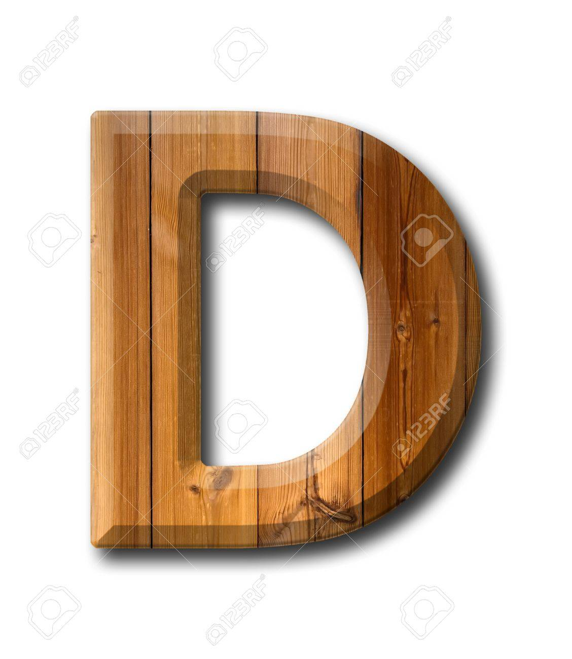 Natural Wood style Letter alphabet on White background with shadow Stock Photo - 10998921