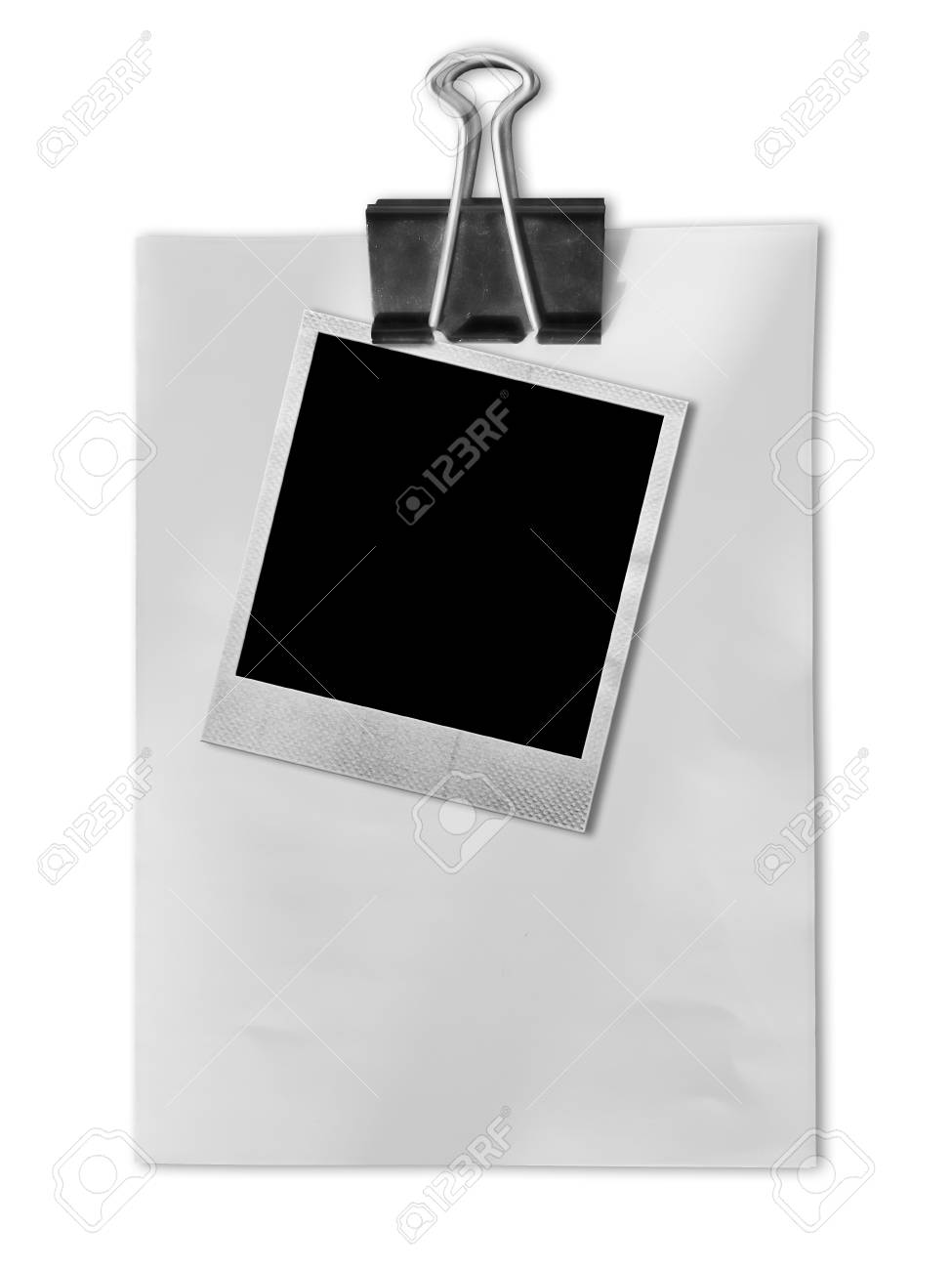 Old Photo Frame On White Paper With Black Clipboard Stock Photo ...
