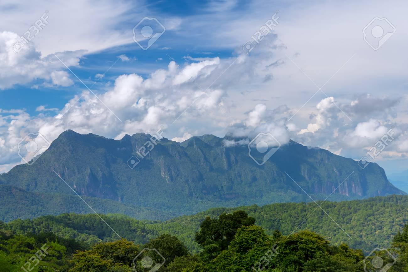 Doi Luang Chiang Dao looking from Doi Mae Ta man ,Chiang Mai ,Thailand - 104228905