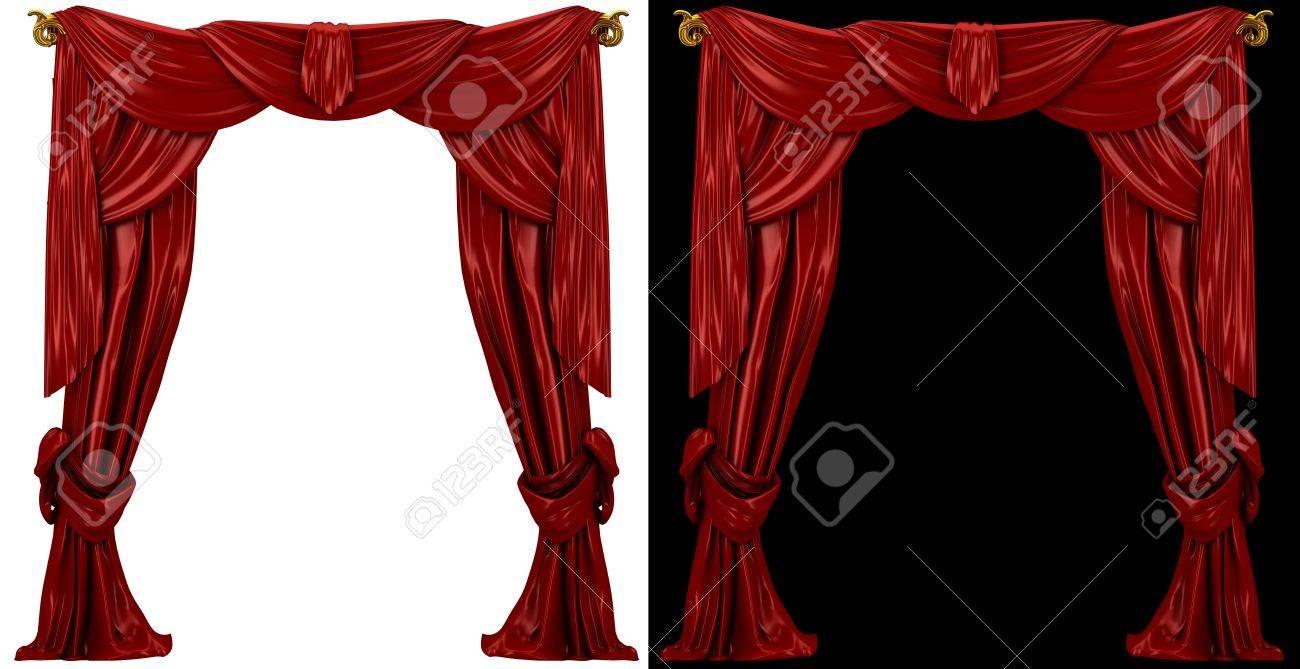 cortinas de color rojo sobre un fondo blanco y negro foto de archivo