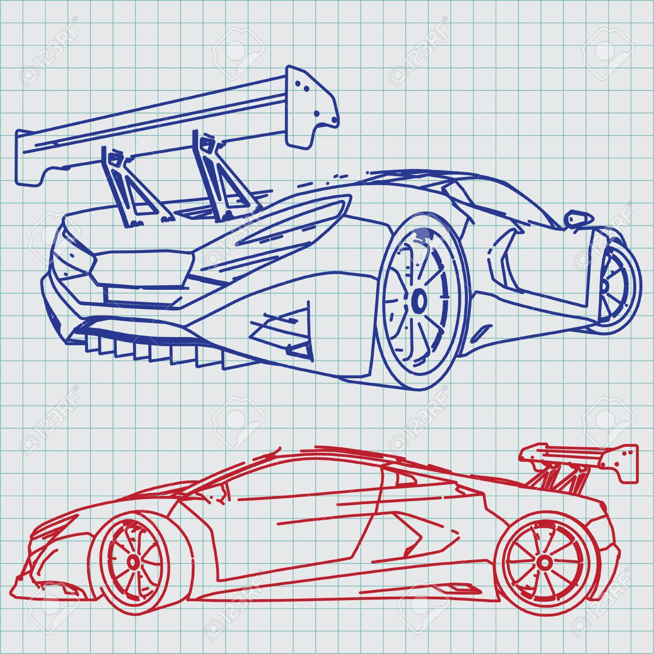 Sports Car Sketch Blueprint Royalty Free Cliparts, Vectors, And ...