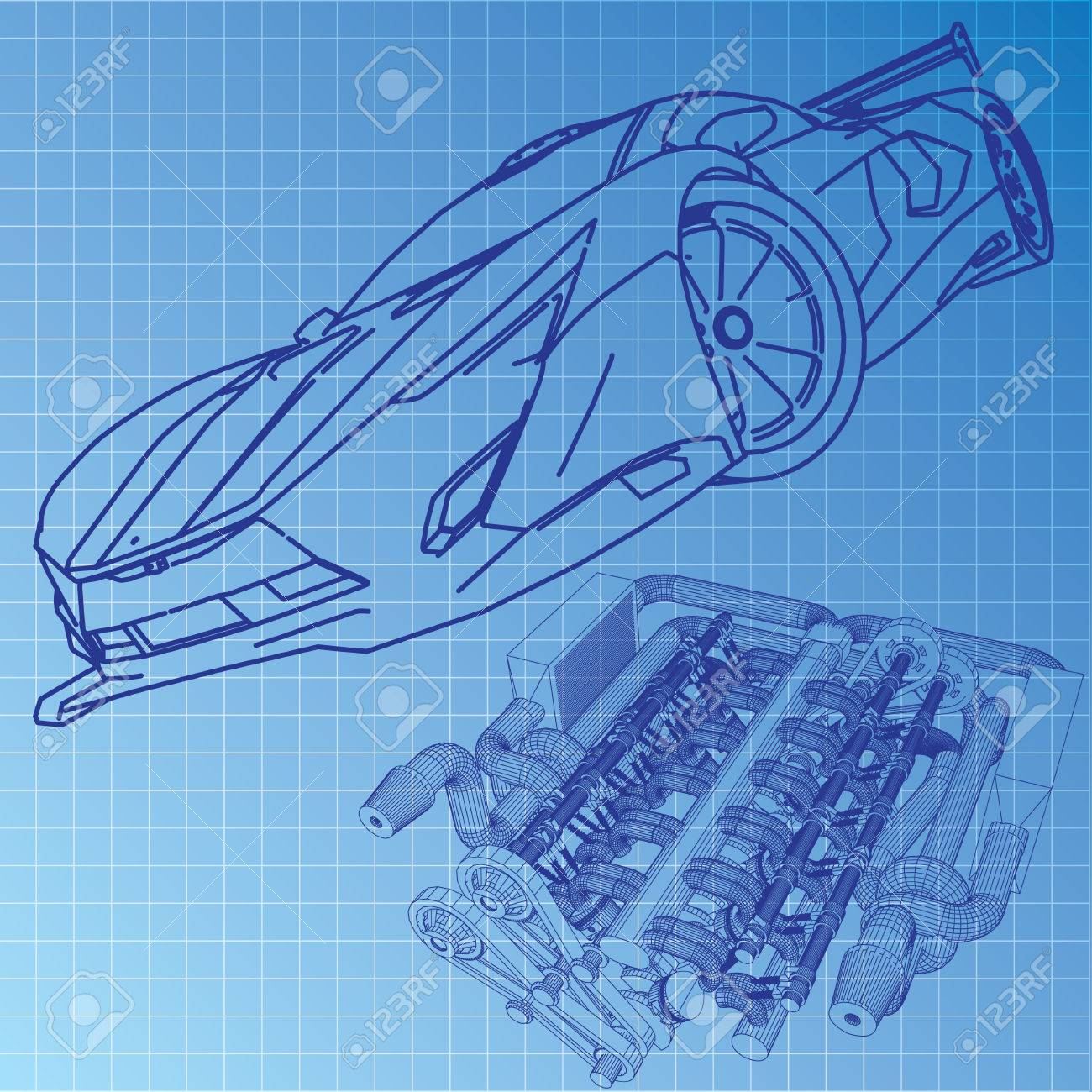 Sports car sketch blueprint royalty free cliparts vectors and sports car sketch blueprint stock vector 29229254 malvernweather Image collections