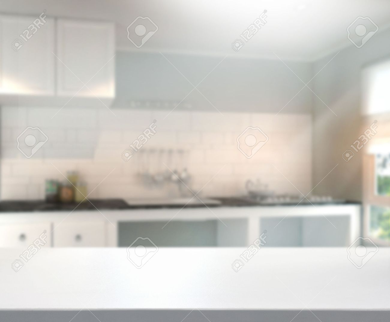 Kitchen Table Top Background table top and blur interior background stock photo, picture and