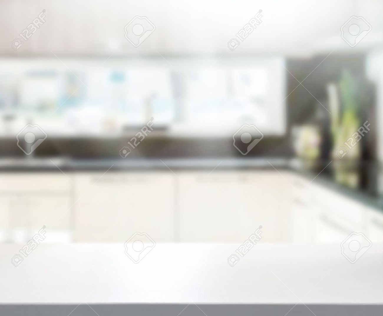 Kitchen Table Top Background Table Top And Blur Interior Of Background Stock Photo Picture And