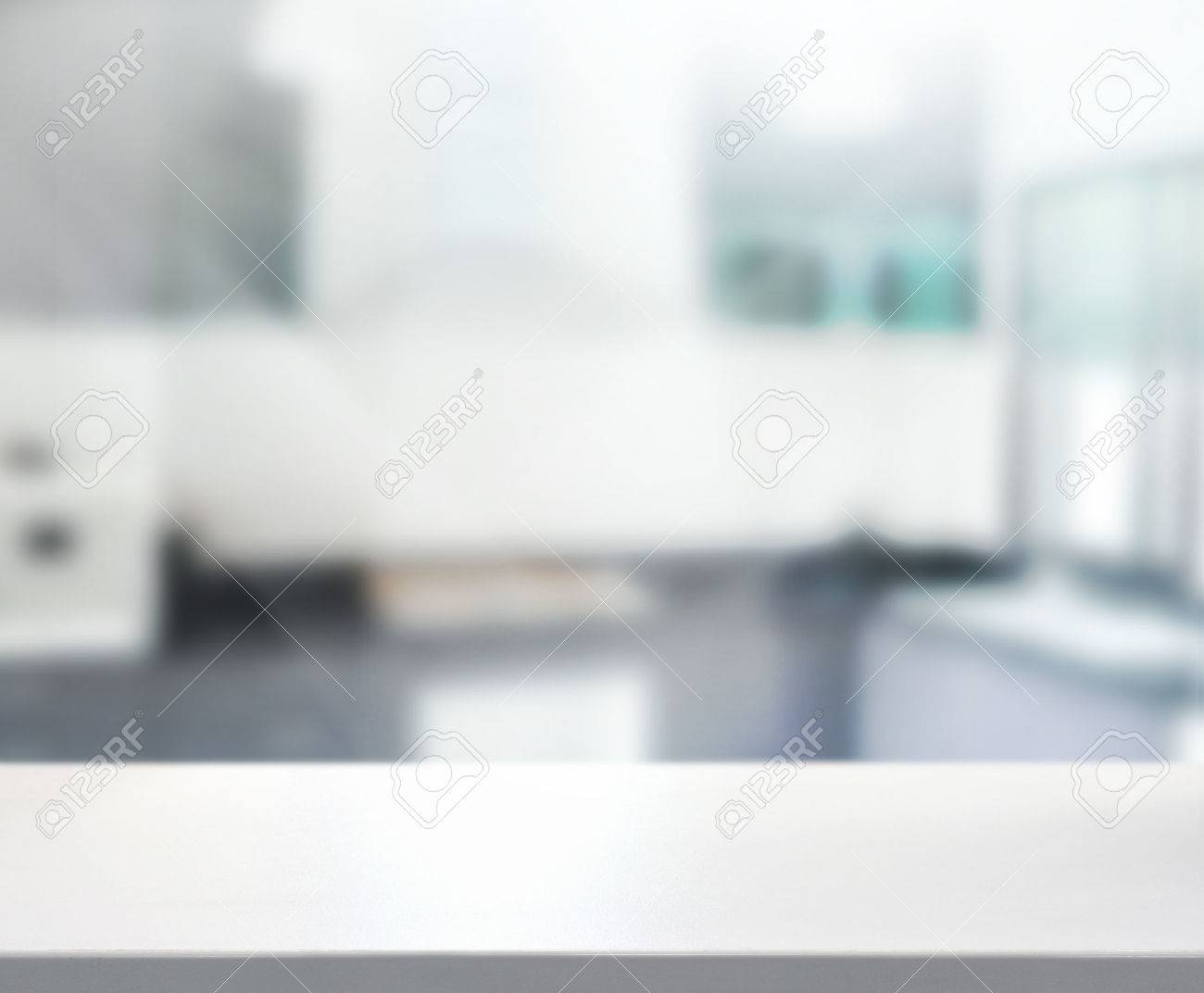 Kitchen Table Top Background table top and blur interior of background stock photo, picture and