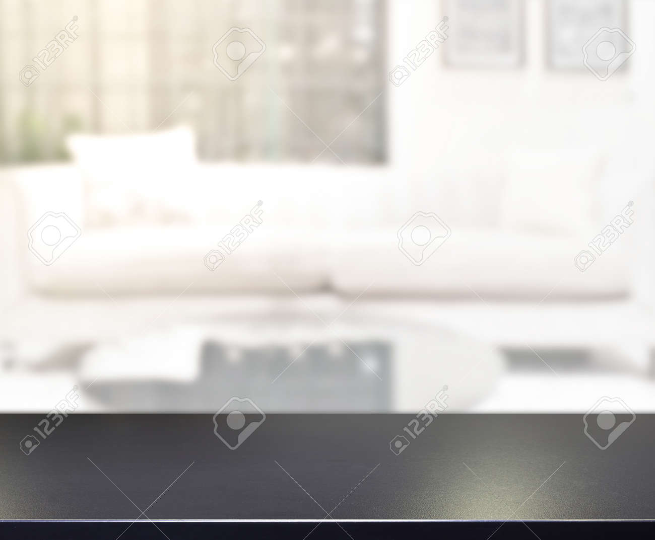 Table Top And Blur Living Room Of The Background - 148705463