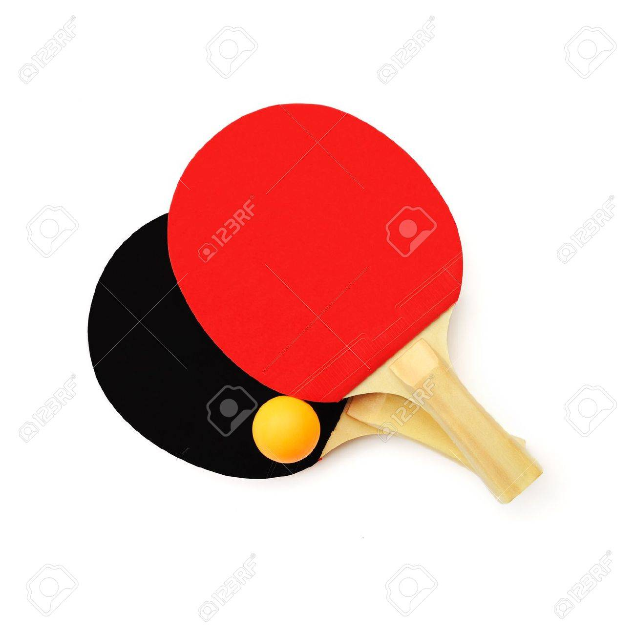 Red And Black Table Tennis Paddles And A Ball Isolated On White Stock Photo    10736680