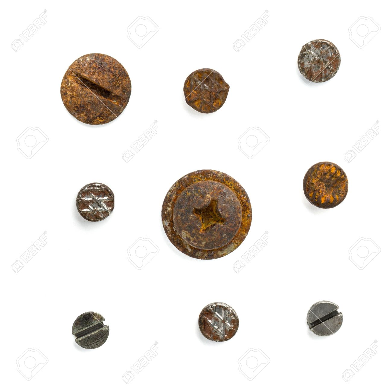 Set Of Nail Head Isolated On White Background Stock Photo, Picture ...